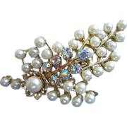 SALE Floral Spray of Faux Pearls and AB Rhinestones Pin Brooch
