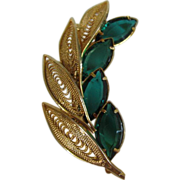 SALE Emerald Green Navettes, Gold Tone Filigree Floral Pin Brooch