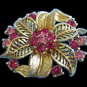 SALE Lisner Gold Tone Flower with Fuchsia, Pink Rhinestones Pin Brooch