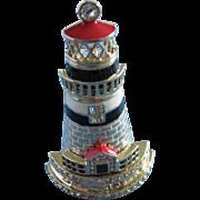 SALE Enamel and Rhinestone Lighthouse Figural Pin, Signed