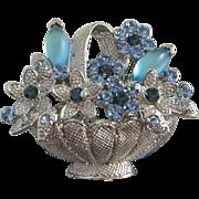 SALE Montana Blue and Sapphire Rhinestone Flowers, Silver Tone Basket Pin