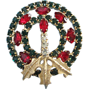 SALE Emerald Green and Ruby Red Rhinestone Christmas, Holiday Wreath Pin