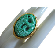SALE Vintage Avon Perfume or Poison Ring, Faux Carved Jade Bird of Paradise