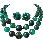 SALE Kramer Beautiful Greens Beaded Necklace and Earrings Set