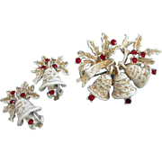 SALE Dodds White, Gold Enamel and Rhinestones Holiday, Christmas Bells Pin and Earrings Set