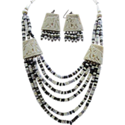 SALE Six Strand Carved Elephants in Bone Bib Necklace & Pierced Earrings Set