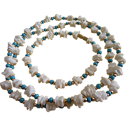 SALE Faux Turquoise and White Coral Necklace, Bracelet Set