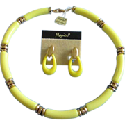 SALE New (Old) Napier Yellow Thermoset Necklace, Earrings Set