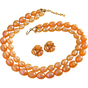 SALE Iridescent Tangerine Moonglow Lucite Beaded Necklace and Earrings Set