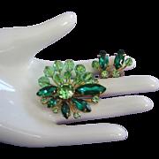 SALE Peridot Crystals, Rhinestones and Emerald Green Navettes Pin, Earrings Set