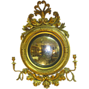English Antique Bulls Eye  Convex Mirror
