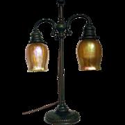Tiffany Studios Double Art Glass Student Lamp
