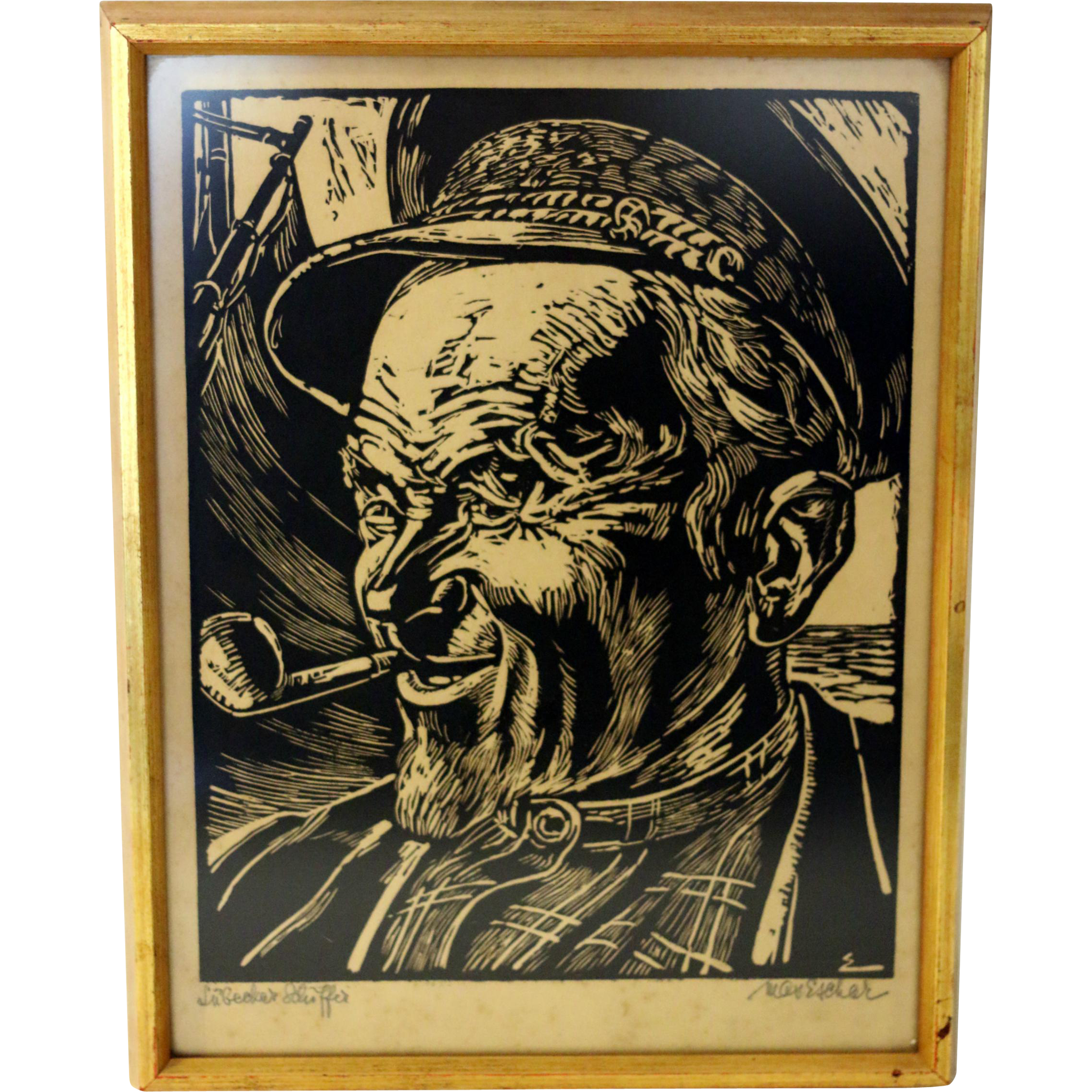 German Expressionist Woodcut Of Sailor From