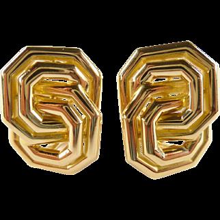 SALE Vintage Chaumet 18K Gold Figure Eight Earrings