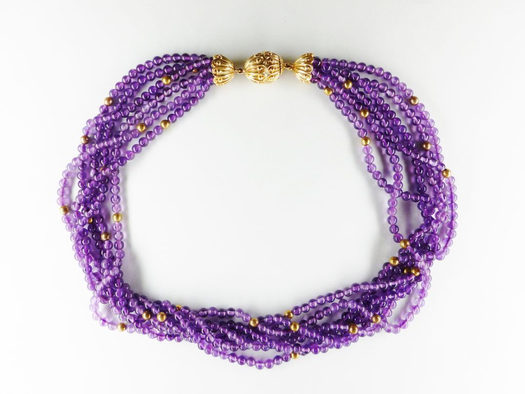 vintage 14k gold multi strand amethyst bead necklace from