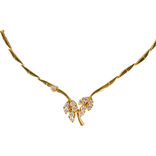 Vintage Circa 1980 14k Gold 0.65ctw Diamond Necklace