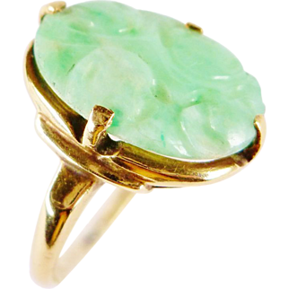 SALE Art Deco Chinese Natural Carved Jade 10K Gold Ring