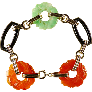 Art Deco Gold Carved Carnelian Carved Jade Onyx Bracelet