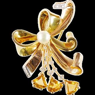 SALE Retro 1940s 14k Multi-Color Gold Diamond Pearl Citrine Brooch Pendant