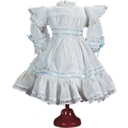 """SOLD Pretty White Cotton Reproduction Jumeau Dress for 12""""-13"""" Antique French or Ger"""