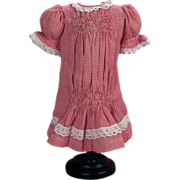 SOLD Pretty Red and White checkered Reproduction Dress for Antique French or German Bisque Hea