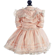 "SOLD Pale Peach Silk Party Dress for 24"" Antique French or German Bisque Head Doll"