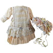 SOLD FABULOUS Vintage Silk French Dress and Bonnet for Bisque French or German Doll