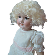 SOLD Sweet Mohair Wig for Antique French or German Doll, Lt Blonde, 12""