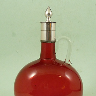 Victorian Cranberry Glass Decanter with Silver Plated Stopper and Mount Antique