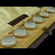 Vintage Boxed Set 6 Shirt Studs MOP Gold Art Deco