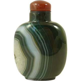 Chinese Green Banded Agate Snuff Bottle Carnelian Stopper