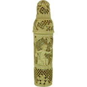 SOLD French Dieppe Carved Bone Perfume Scent Bottle Case Bacchus Wine