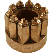 SOLD 1861 Dated Victorian Copper Jelly Mould Large Castle Tower Marked CH 330