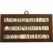 SOLD Antique Bone Alphabet Tablet Letters Game