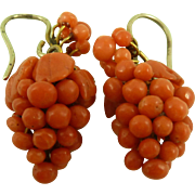 Fine Victorian Coral Bunch of Grapes Pendant Earrings Pinchbeck Antique