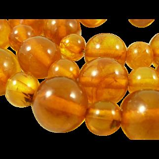 32g Baltic Amber 11mm Round Bead Necklace Honey Cognac Vintage Antique