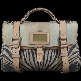 Mulberry Buff Leather Zebra Print Travel Handbag Day Shoulder Genuine Designer