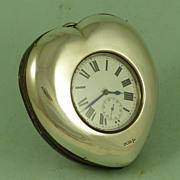 Silver Heart Desk Clock Goliath Watch 1907 Antique