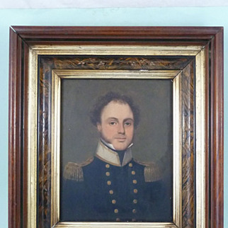 Early 19th century English Naval Officer oil portrait painted on panel