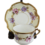 SOLD Limoges Pansy Cup & Saucer