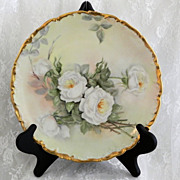 """SOLD Limoges White Roses 10 1/4"""" Plate - signed 1905 - Red Tag Sale Item"""