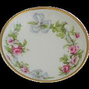 SOLD Limoges Roses Trinket Salt Pill Dish