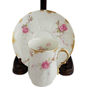 SOLD Limoges Roses Cocoa Cup & Saucer