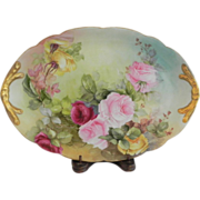 """SOLD J.P. Limoges Roses 14 1/2"""" Tray"""
