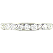 SALE Art Deco Diamond Eternity Ring in Platinum. Diamond Full Hoop Wedding Ring with Engraved