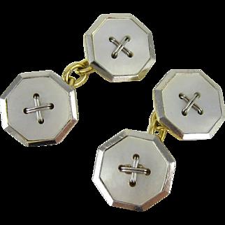 Men's Vintage Cuff Links, Mother of Pearl Button Design in Octagonal Shape, 18 Carat & Platinum, Art Deco 1930s.