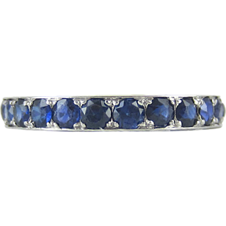 Mid 20th Century Sapphire Eternity Ring. Vintage Platinum Fully Hoop Blue Sapphire Wedding, Anniversary Ring.