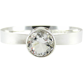 Modernist Alton Bangle Bracelet, Sterling Silver & Rock Crystal Bangle, Swedish Designer Alton, Mid 20th Century, 1960s.