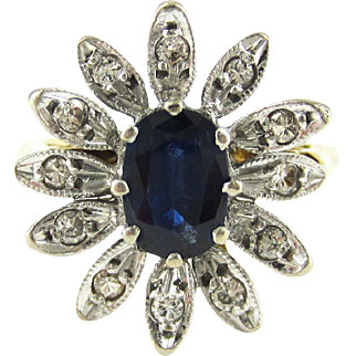 Mid Century Sapphire & Diamond Dinner Ring, Dark Blue Oval Cut Sapphire with Flower Design Diamond Halo Cocktail Ring, 18ct Gold.