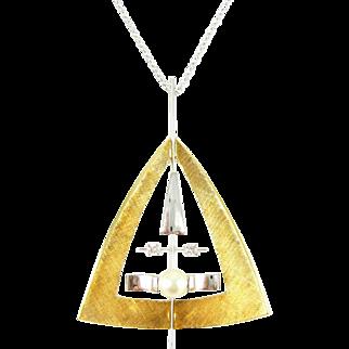 Mid Century Geometric Pendant, 18 Carat Yellow & White Gold Triangle Design Pendant with Round Brilliant Cut Diamonds and Cultured Pearl.